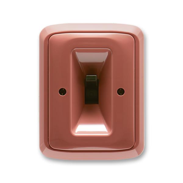 Spínač páčkový trojpólový s instalační krabicí a upevňovací sponou TANGO - vřesová červená