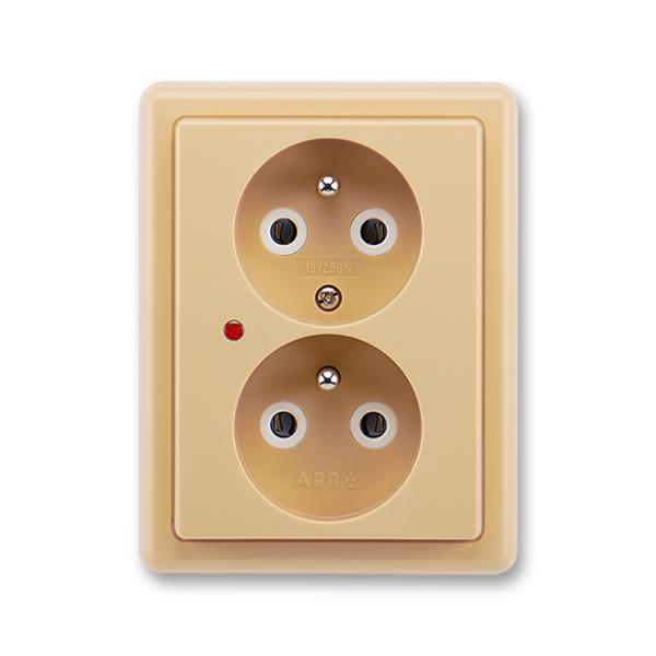 Zásuvka dvojnásobná s ochrannými kolíky, s ochranou proti přepětí CLASSIC - béžová