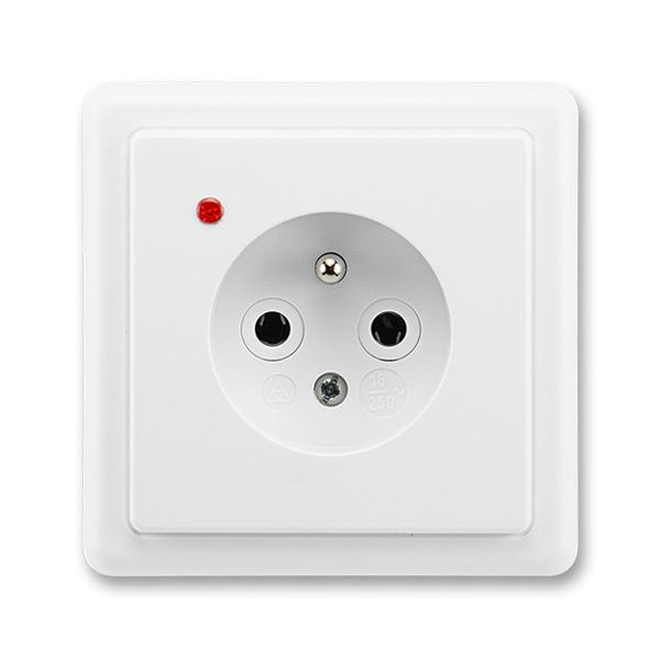 Zásuvka jednonásobná s ochranným kolíkem, s ochranou proti přepětí CLASSIC - jasně bílá