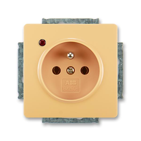 Zásuvka jednonásobná s ochranným kolíkem, s ochranou před přepětím SWING - béžová
