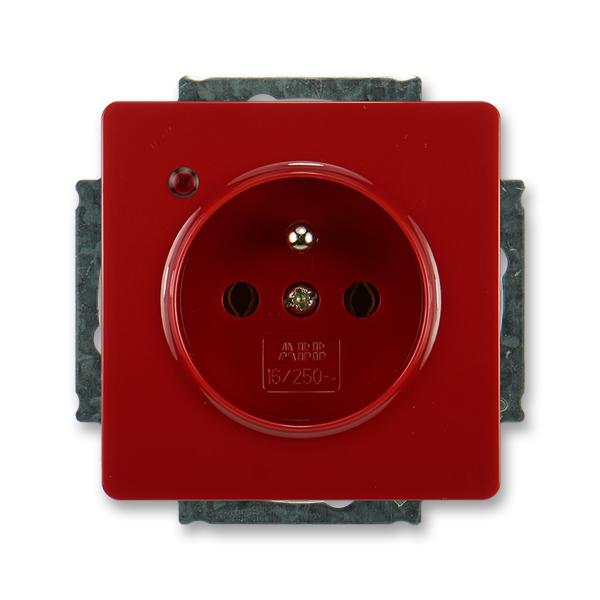 Zásuvka jednonásobná s ochranným kolíkem, s ochranou před přepětím SWING - karmínová