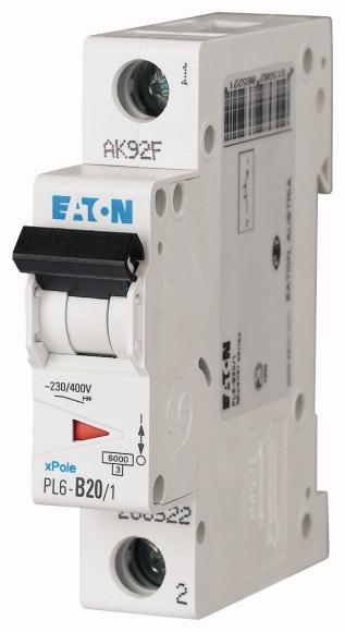 Jistič jednofázový EATON PL6-B20/1, 20 A