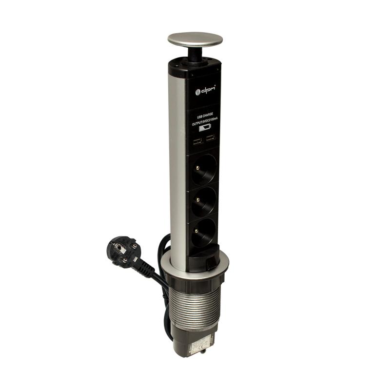 Zásuvkový výsuvný sloupek 3x230V, 2xUSB (PF1203U)