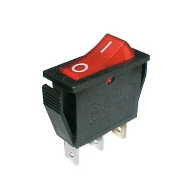 Přepínač kolébkový 2pol./3pin ON-OFF 250V/15A pros. červený (02620005)