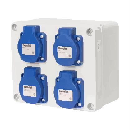 Krabice s hladkými boky - IP54, 4x230V s ochranným kolíkem (3065)