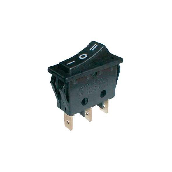 Kolébkový přepínač černý 3pol/3pin ON-OFF-ON 250V/15A (02620026)