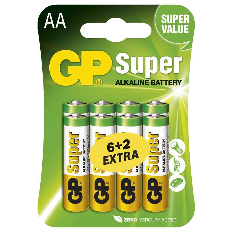 Alkalická baterie GP Super LR6 AA (6+2 v blistru)