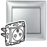 Televizní zásuvka TV-R-SAT Valena (průběžná) - stříbrná