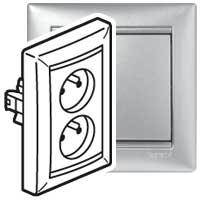 Dvojzásuvka Valena (s přepěťovou ochranou) - stříbrná