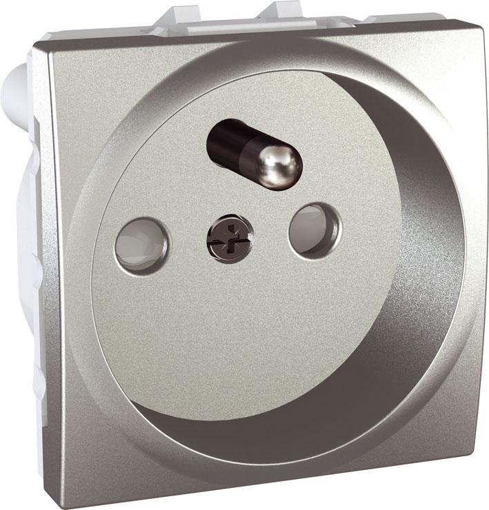 Zásuvka UNICA s clonkami, 2 moduly (Aluminium)