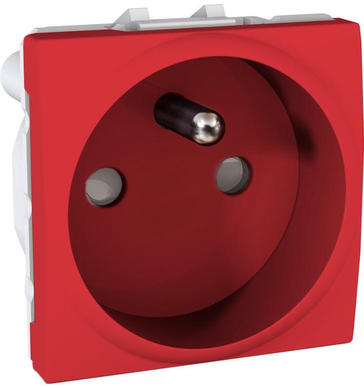 Zásuvka UNICA s clonkami, 2 moduly (Red) - bezšroub.svorky