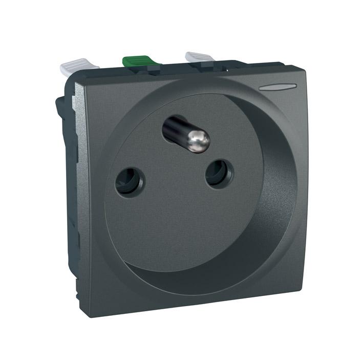 Zásuvka UNICA s clonkami, 2 moduly (Grafit) - bezšroub.svorky