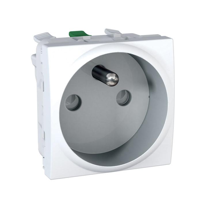 Zásuvka UNICA s clonkami, 2 moduly (Polar) - bezšroub.svorky
