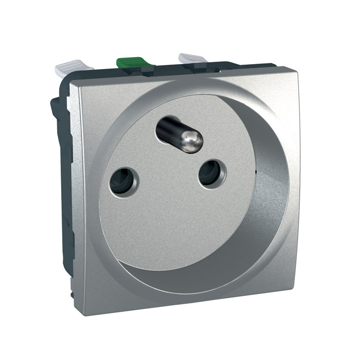 Zásuvka UNICA s clonkami, 2 moduly (Aluminium) - bezšroub.svorky