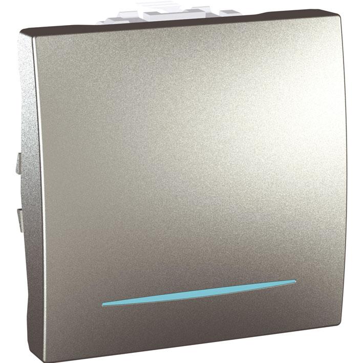 Spínač UNICA jednopólový, 2 moduly, řazení 1So (Aluminium)