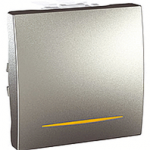 Spínač UNICA jednopólový, 2 moduly, řazení 1Ss (Aluminium)