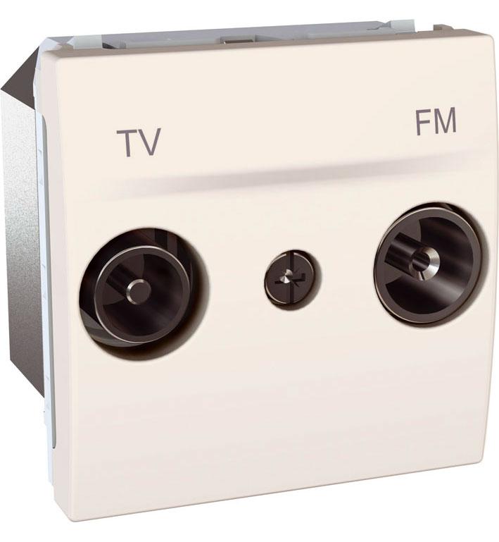 Zásuvka UNICA TV-R koncová, 2 moduly (Marfil)