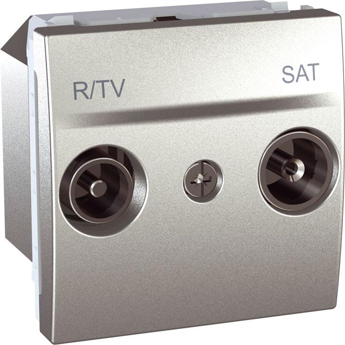 Zásuvka UNICA TV-R-SAT koncová, 2 moduly (Aluminium)