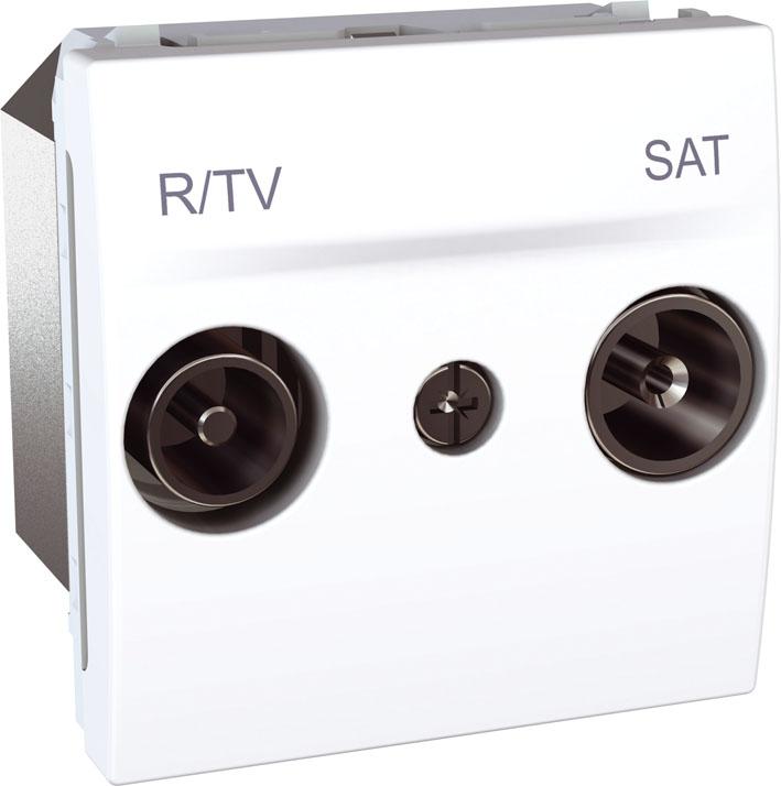 Zásuvka UNICA TV-R-SAT průběžná, 2 moduly (Polar)