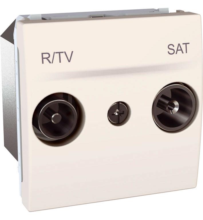 Zásuvka UNICA TV-R-SAT průběžná, 2 moduly (Marfil)