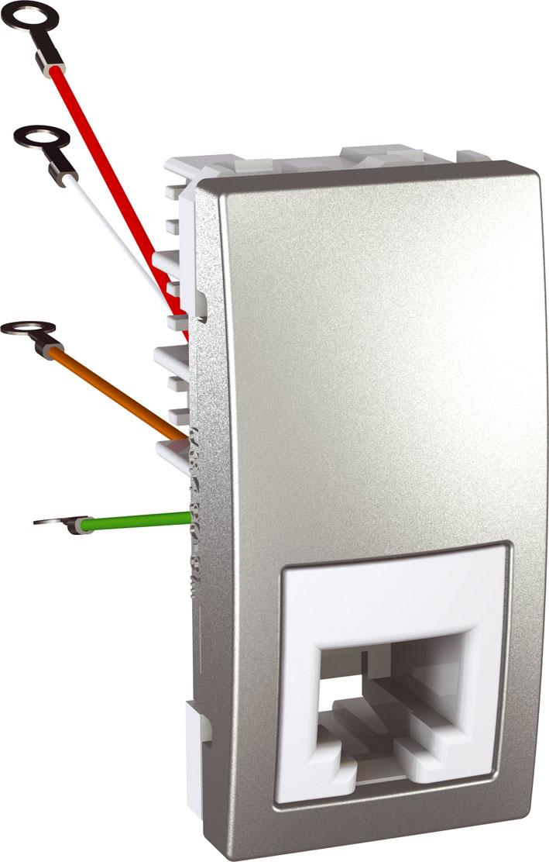 Zásuvka UNICA telefonní, RJ11, 4 kontakty, 1 modul (Aluminium)