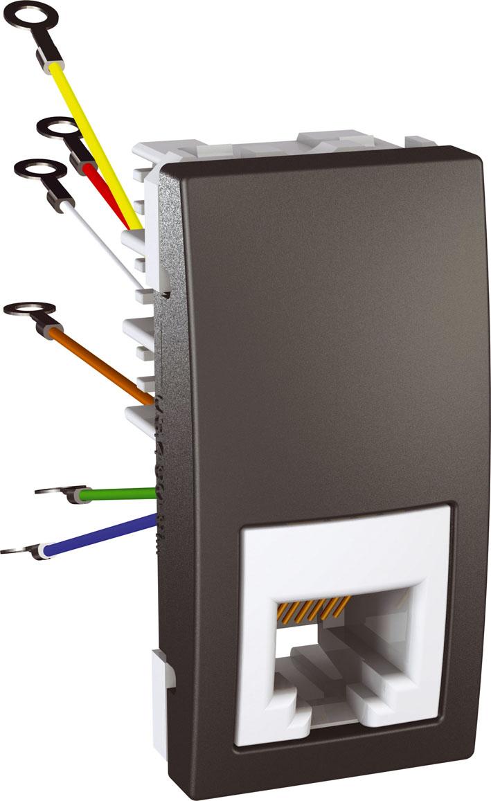 Zásuvka UNICA telefonní, RJ12, 6 kontaktů, 1 modul (Grafit)