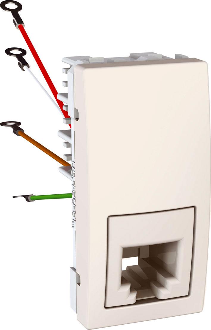 Zásuvka UNICA telefonní, RJ12, 6 kontaktů, 1 modul (Marfil)