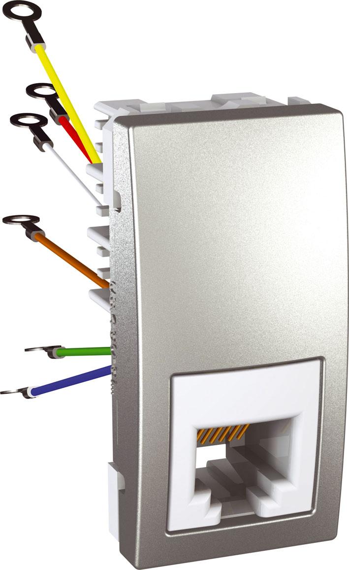 Zásuvka UNICA telefonní, RJ12, 6 kontaktů, 1 modul (Aluminium)