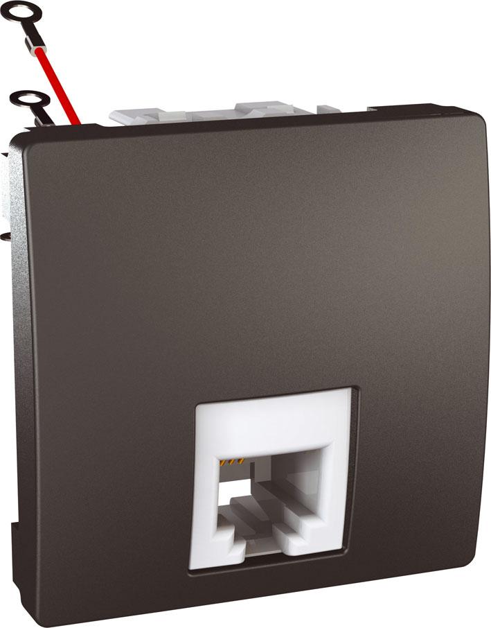 Zásuvka UNICA telefonní, RJ11, 4 kontakty, 2 moduly (Grafit)