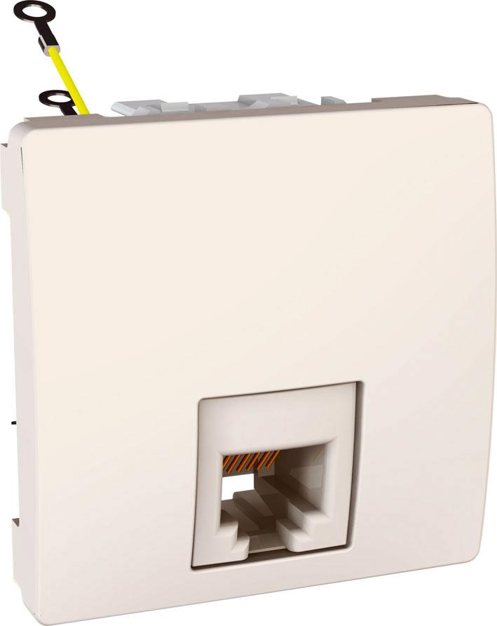Zásuvka UNICA telefonní, RJ11, 4 kontakty, 2 moduly (Marfil)
