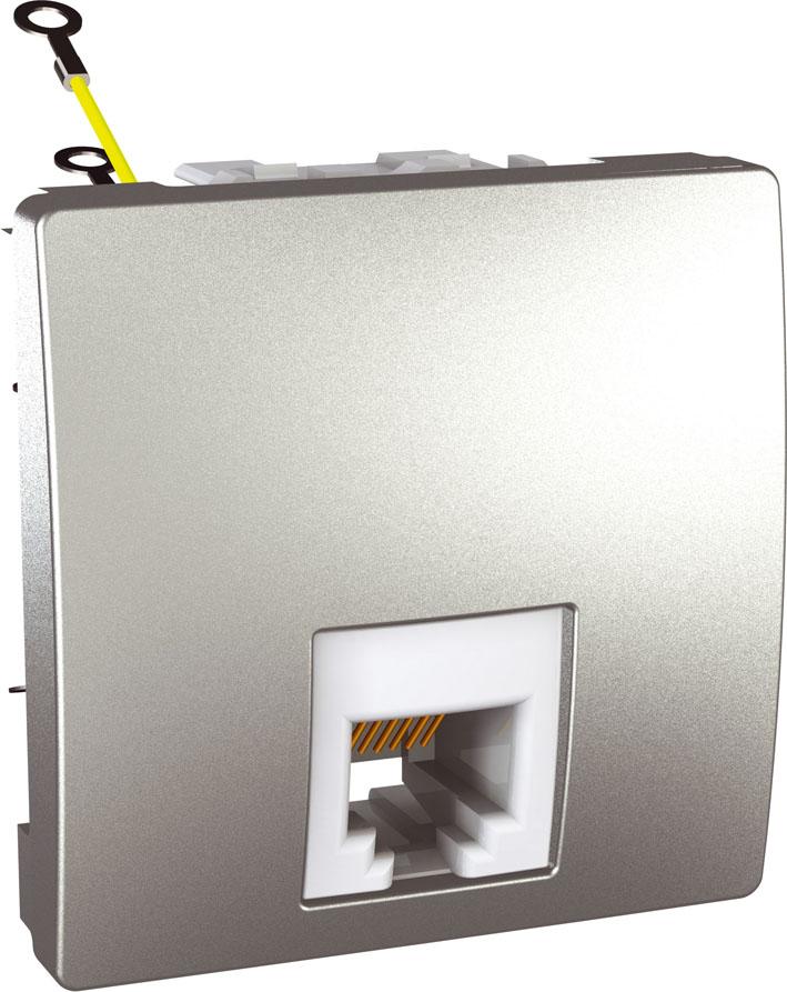 Zásuvka UNICA telefonní, RJ11, 4 kontakty, 2 moduly (Aluminium)