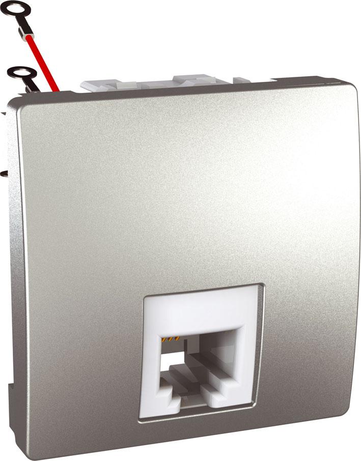 Zásuvka UNICA telefonní, RJ12, 6 kontaktů, 2 moduly (Aluminium)