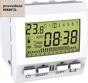 Termostat UNICA týdenní programovatelný pro podlahované vytápění, 2 moduly (Marfil)