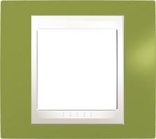 Rámeček UNICA Plus jednonásobný Marfil - Pistacio