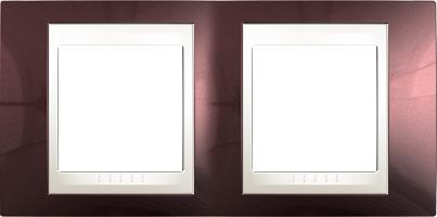 Rámeček UNICA Plus dvojnásobný horizontální Marfil - Teracota