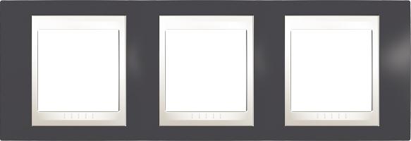 Rámeček UNICA Plus trojnásobný horizontální Marfil - Slate