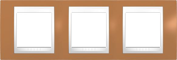 Rámeček UNICA Plus trojnásobný horizontální Polar - Orange