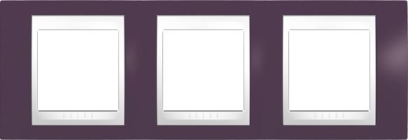 Rámeček UNICA Plus trojnásobný horizontální Polar - Garnet