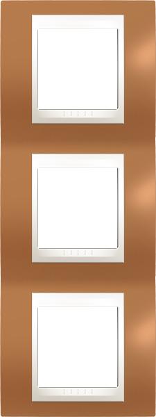 Rámeček UNICA Plus trojnásobný vertikální Marfil - Orange