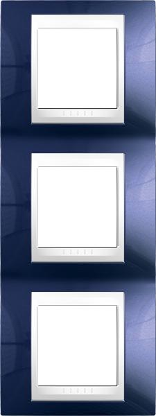 Rámeček UNICA Plus trojnásobný vertikální Polar - Indigo