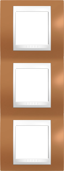 Rámeček UNICA Plus trojnásobný vertikální Polar - Orange