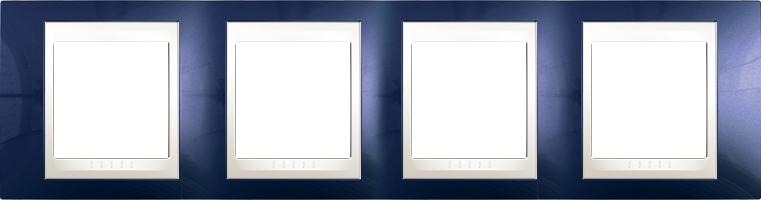 Rámeček UNICA Plus čtyřnásobný horizontální Marfil - Indigo