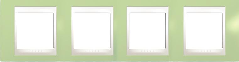 Rámeček UNICA Plus čtyřnásobný horizontální Marfil - Manzana