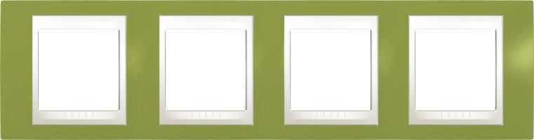Rámeček UNICA Plus čtyřnásobný horizontální Marfil - Pistacio