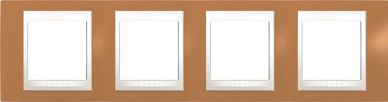 Rámeček UNICA Plus čtyřnásobný horizontální Marfil - Orange