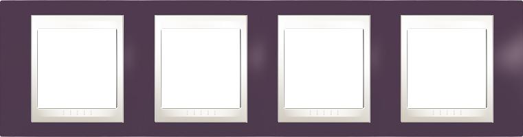 Rámeček UNICA Plus čtyřnásobný horizontální Marfil - Garnet