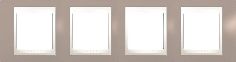 Rámeček UNICA Plus čtyřnásobný horizontální Marfil - Mink
