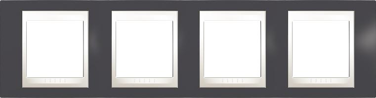 Rámeček UNICA Plus čtyřnásobný horizontální Marfil - Slate