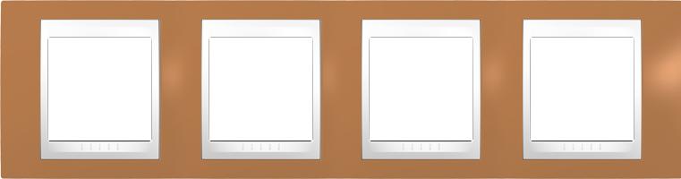 Rámeček UNICA Plus čtyřnásobný horizontální Polar - Orange
