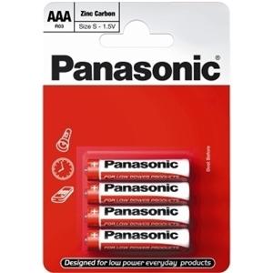 Zinkouhlíková baterie AAA Panasonic Red Zinc R03RZ (4ks v blistru)